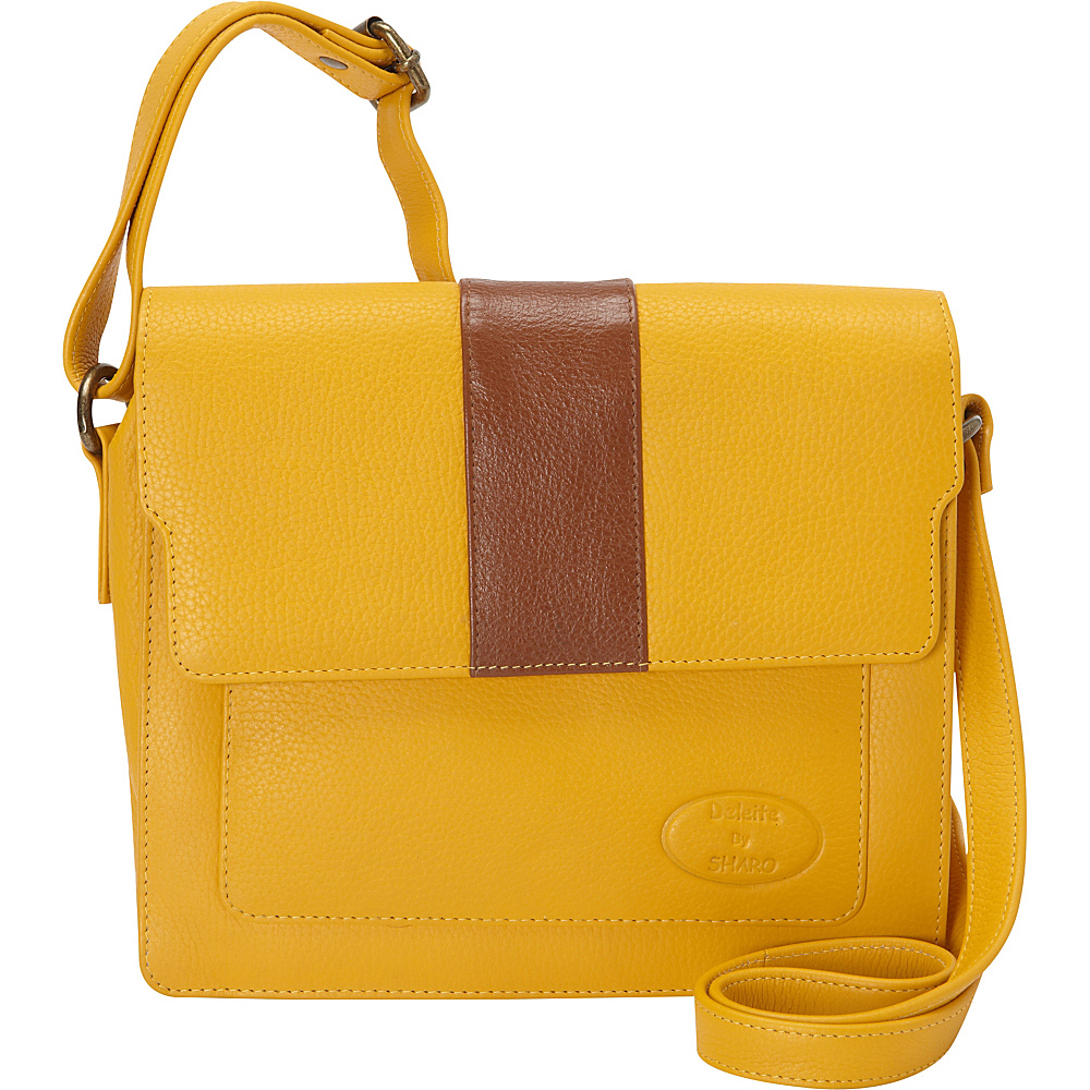 Sharo Leather Bags Women's High Fashion Crossbody Bag Mustard - Sharo Leather Bags Leather Handbags