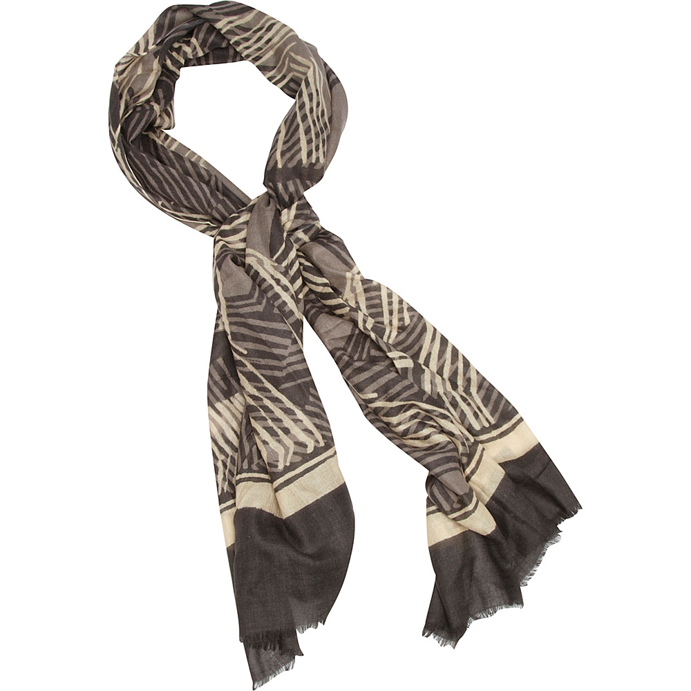 Kinross Cashmere Dot and Lines Print Scarf Truffle Multi Kinross Cashmere Hats Gloves Scarves