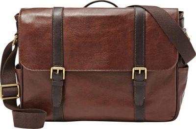 Fossil Estate EW Messenger Dark Brown - Fossil Messenger Bags