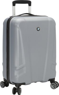 BMW Luggage 19 inch Carry-On Split Case 8 Wheel Spinner Silver - BMW Luggage Hardside Carry-On
