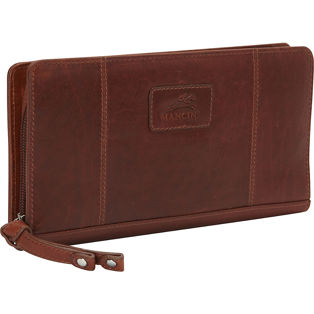 Mancini Leather Goods Casablanca Collection: Ladies Small RFID Clutch Wallet Cognac - Mancini Leather Goods Women's Wallets