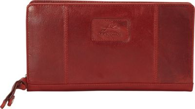 Mancini Leather Goods Casablanca Collection: Ladies Small RFID Clutch Wallet Red - Mancini Leather Goods Women's Wallets