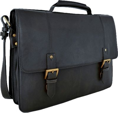 Hidesign Charles Large Double Gusset Leather 17 inch Laptop Compatible Briefcase Work Bag Black - Hidesign Non-Wheeled Business Cases