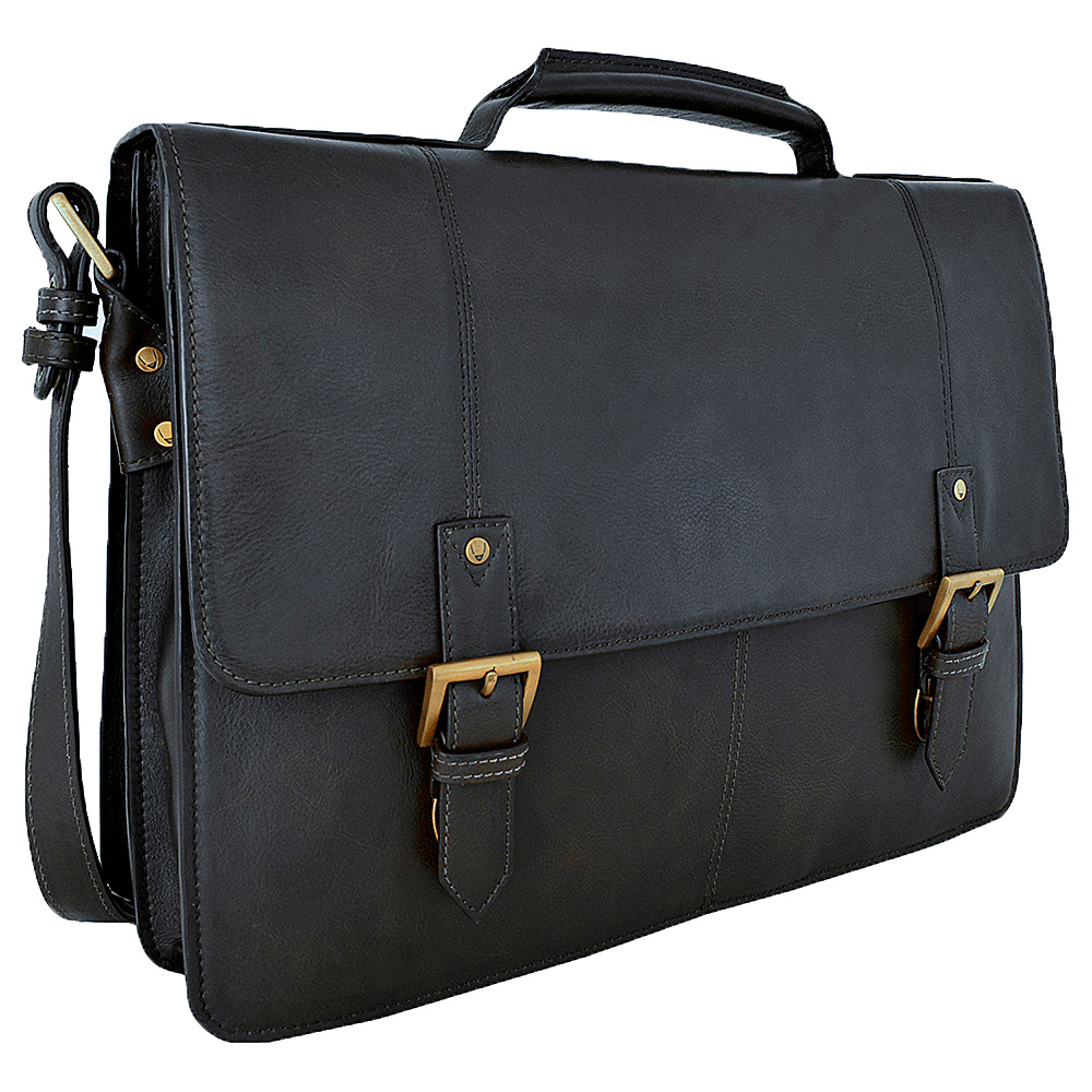 Hidesign Charles Large Double Gusset Leather 17 Laptop Compatible Briefcase Work Bag Black Hidesign Non Wheeled Business Cases