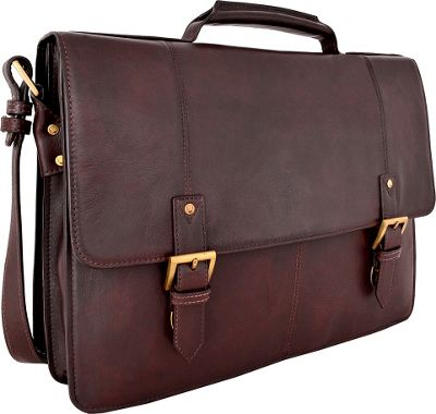 Hidesign Charles Large Double Gusset Leather 17 inch Laptop Compatible Briefcase Work Bag Brown - Hidesign Non-Wheeled Business Cases