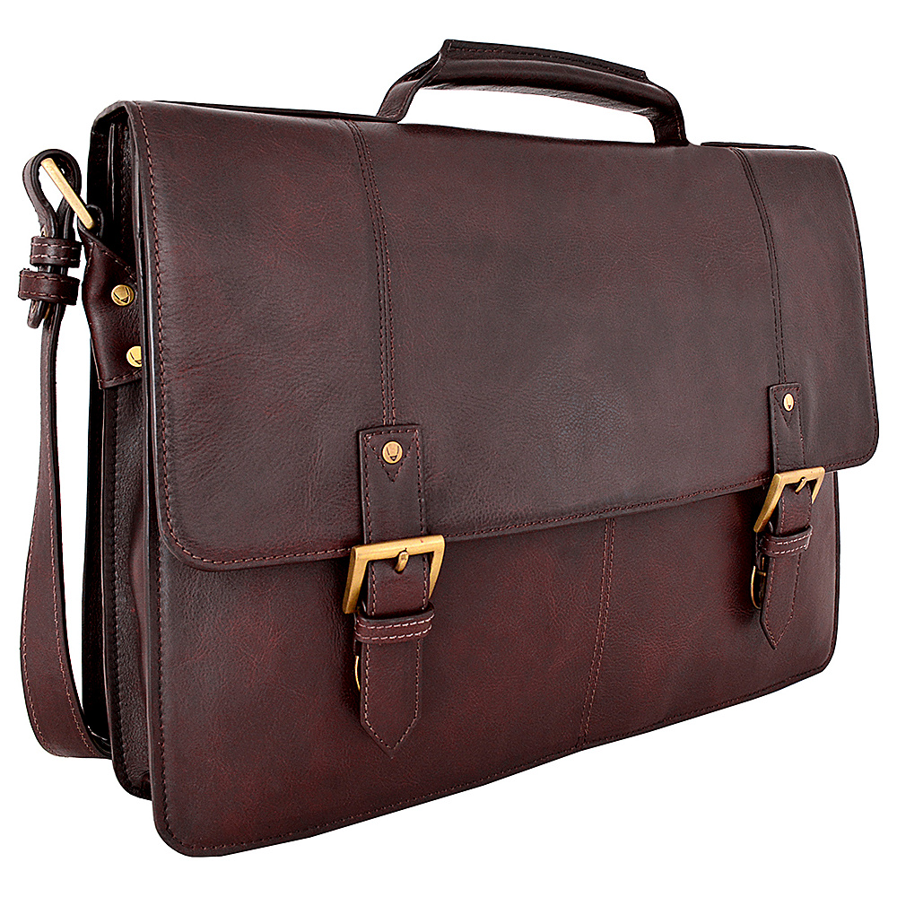 Hidesign Charles Large Double Gusset Leather 17 Laptop Compatible Briefcase Work Bag Brown Hidesign Non Wheeled Business Cases