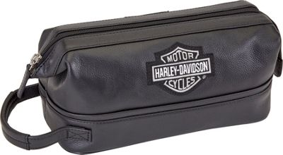 Harley Davidson by Athalon Leather Toiletry Kit Black - Harley Davidson by Athalon Toiletry Kits