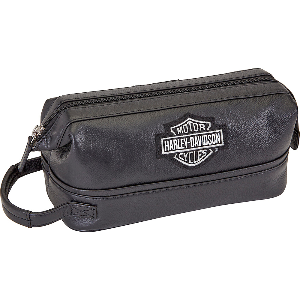 Harley Davidson by Athalon Leather Toiletry Kit Black Harley Davidson by Athalon Toiletry Kits