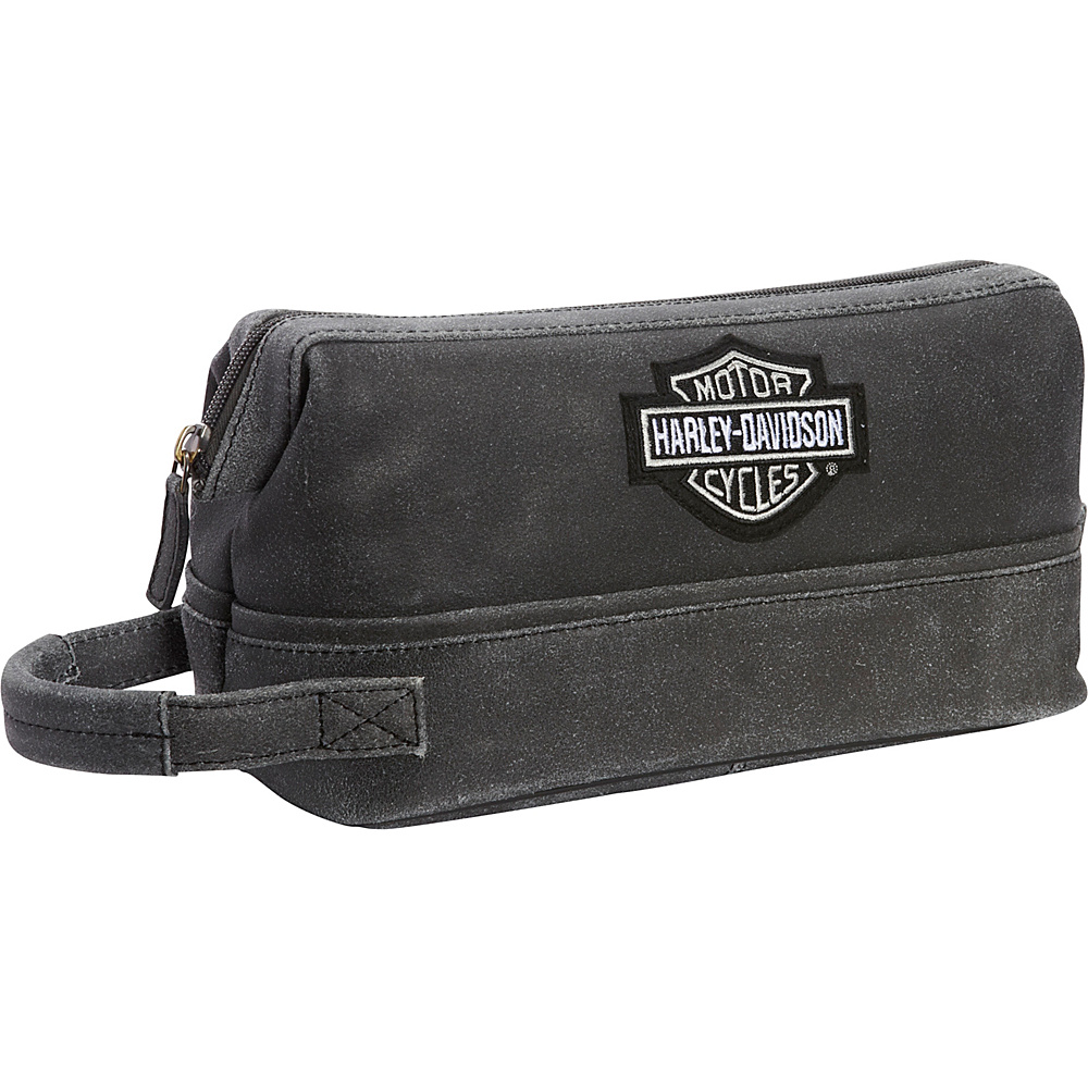 Harley Davidson by Athalon Leather Toiletry Kit Distressed Grey Harley Davidson by Athalon Toiletry Kits