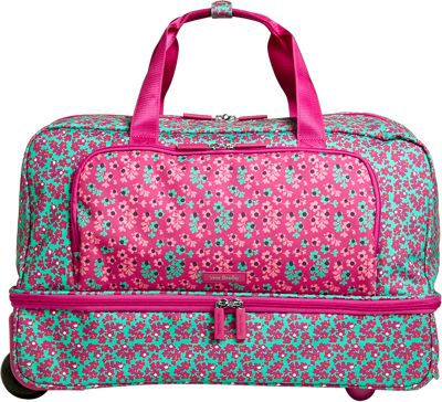 Vera Bradley Lighten Up Wheeled Carry-on Duffel Ditsy Dot - Vera Bradley Rolling Duffels