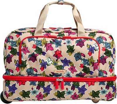 Vera Bradley Lighten Up Wheeled Carry-on Duffel Falling Flowers Neutral - Vera Bradley Rolling Duffels