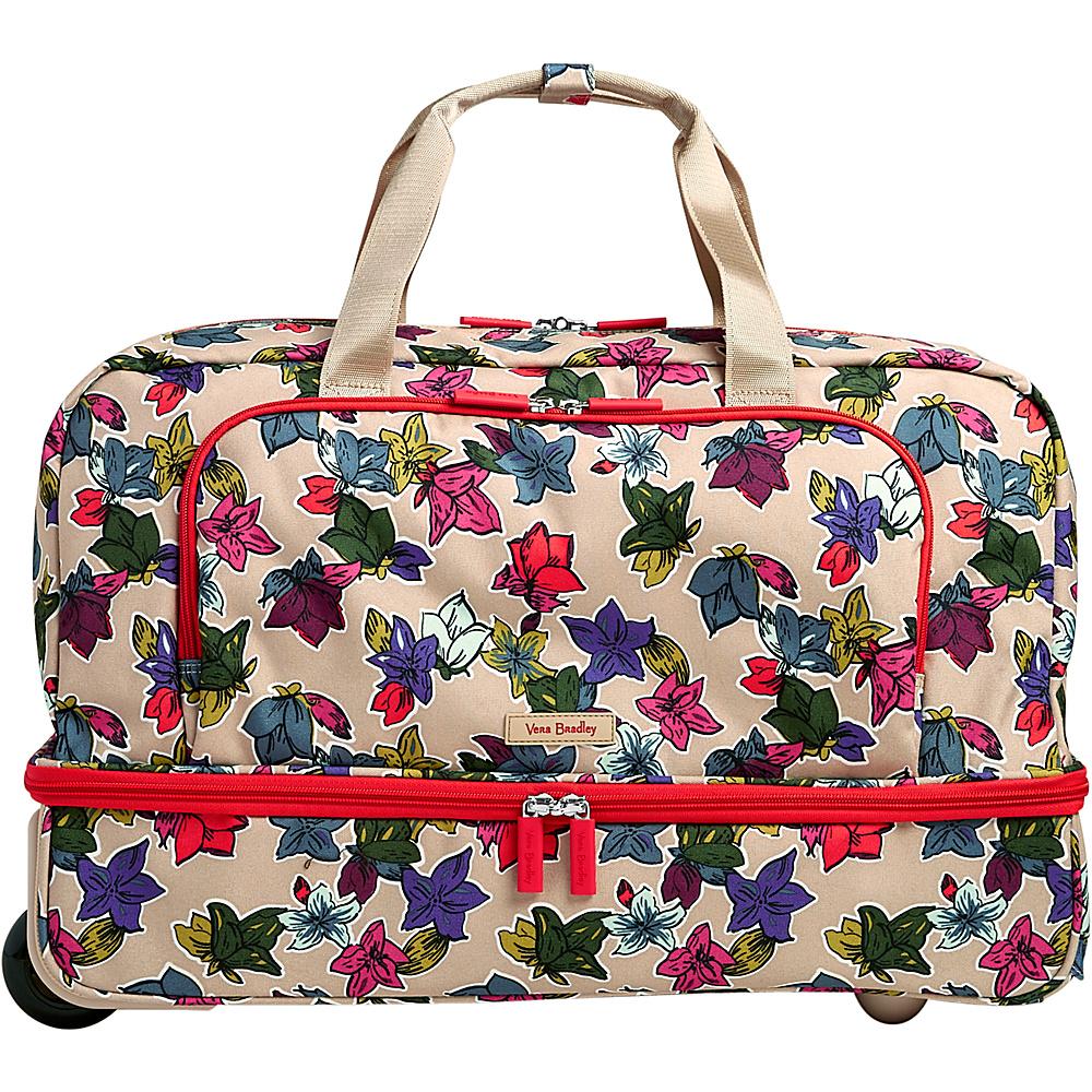 Vera Bradley Lighten Up Wheeled Carry-on Duffel Falling Flowers Neutral - Vera Bradley Rolling Duffels - Luggage, Rolling Duffels