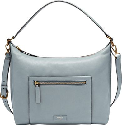 Fossil Vickery Shoulder Bag Smokey Blue - Fossil Leather Handbags