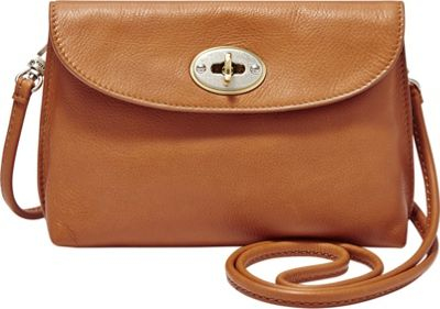 Fossil Monica Turnlock Crossbody Camel - Fossil Leather Handbags