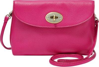 Fossil Monica Turnlock Crossbody Fuchsia - Fossil Leather Handbags