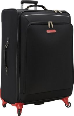 Swiss Cargo Petra 28 inch Spinner Luggage Black Silver - Swiss Cargo Softside Checked