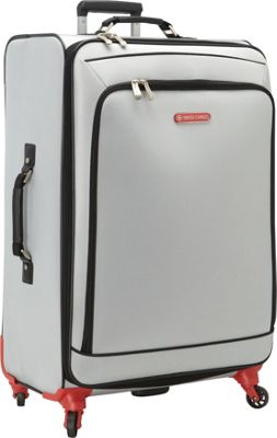 Swiss Cargo Petra 28 inch Spinner Luggage Silver Black - Swiss Cargo Softside Checked