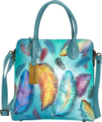 Anuschka Medium Expandable Convertible Tote Floating Feathers - Anuschka Leather Handbags