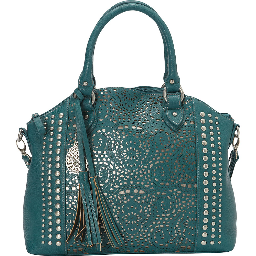 Bandana Mesa Collection Convertible Zip top Tote TURQUOISE GOLD Bandana Manmade Handbags