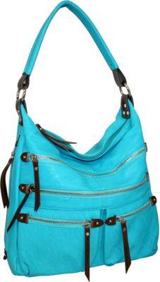 Punto Uno Lots of Zippers Shoulder Bag Turquoise - Punto Uno Manmade Handbags