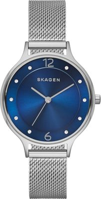 Skagen Anita Womens Steel Mesh Watch Silver/Blue - Skagen Watches