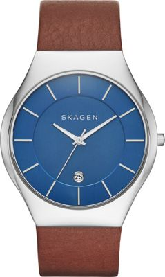Skagen Grenen Mens LeatherWatch Brown/Blue - Skagen Watches