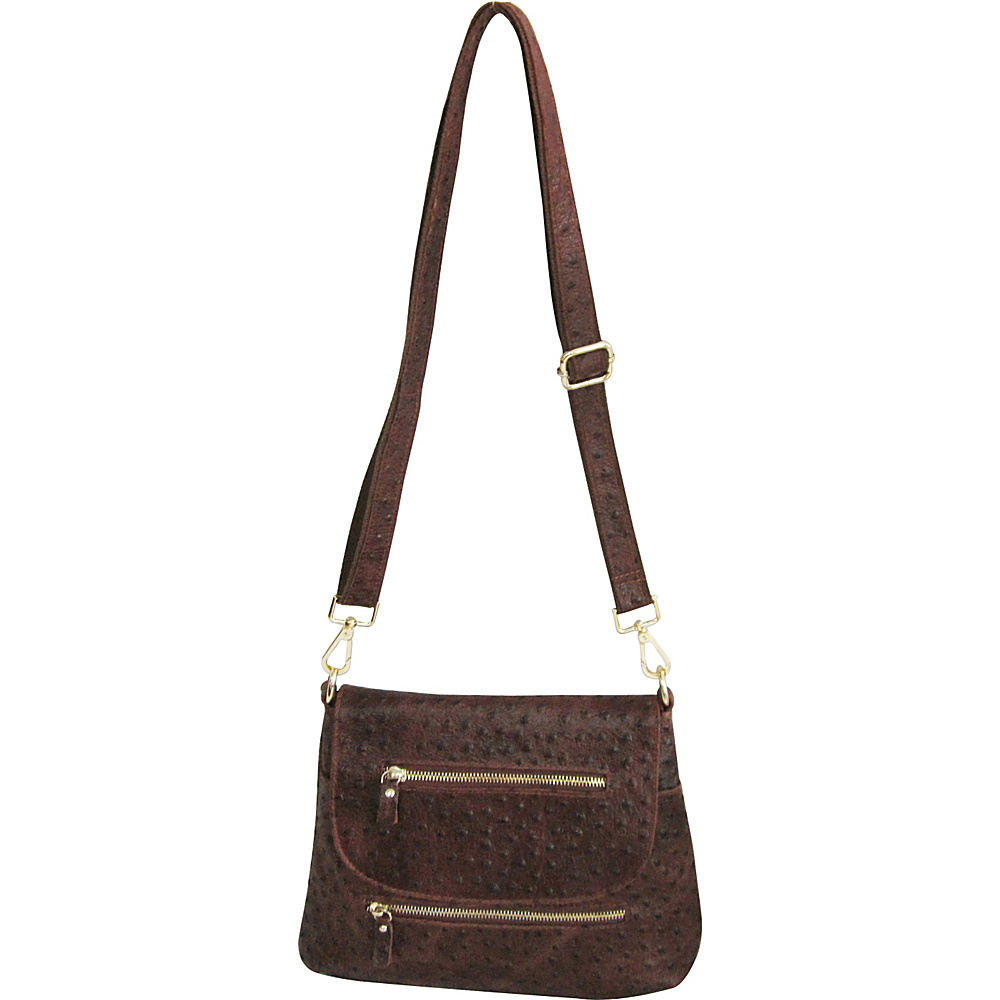 AmeriLeather Breezy Mini Purse Brown Ostrich Print - AmeriLeather Leather Handbags - Handbags, Leather Handbags