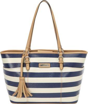 Tignanello Preppy Classic Tote Blue Stripe - Tignanello Manmade Handbags