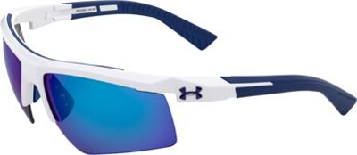 Under Armour Eyewear Core 2.0 Sunglasses Shiny White-Navy Temples/Gray Blue Multiflection - Under Armour Eyewear Sunglasses
