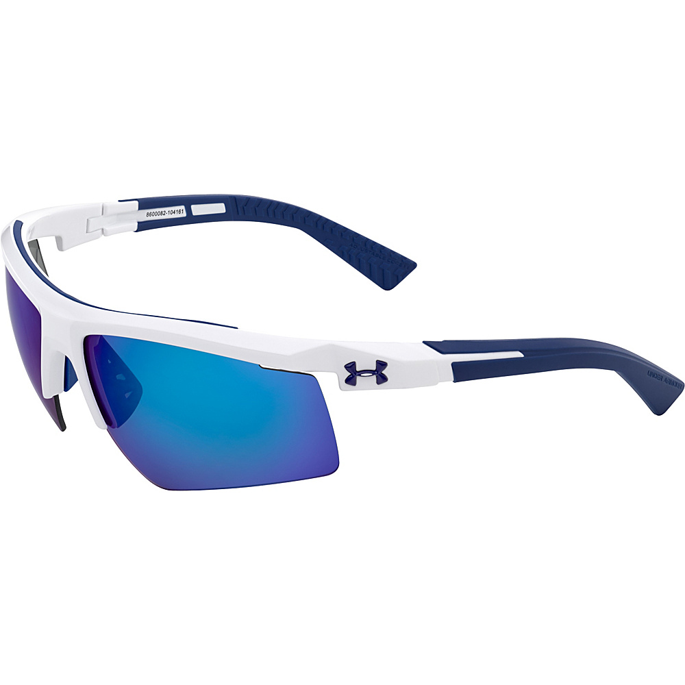 Under Armour Eyewear Core 2.0 Sunglasses Shiny White Navy Temples Gray Blue Multiflection Under Armour Eyewear Sunglasses