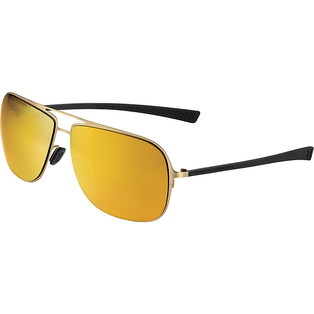 Under Armour Eyewear Alloy Storm Sunglasses Satin Gold Black Rubber Brown Storm Polarized Gold Under Armour Eyewear Sunglasses