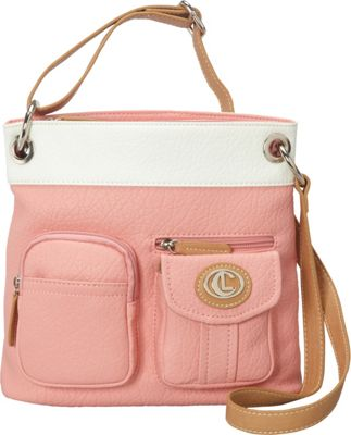 Image of Aurielle-Carryland Bernina 2 Tone Crossbody Carnation/White - Aurielle-Carryland Manmade Handbags