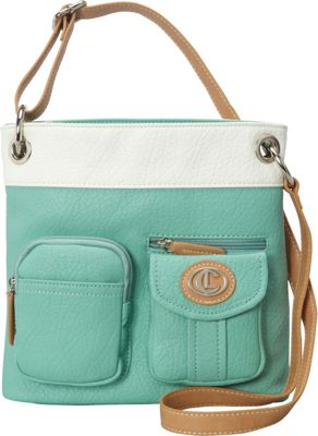 Image of Aurielle-Carryland Bernina 2 Tone Crossbody Mint/White - Aurielle-Carryland Manmade Handbags