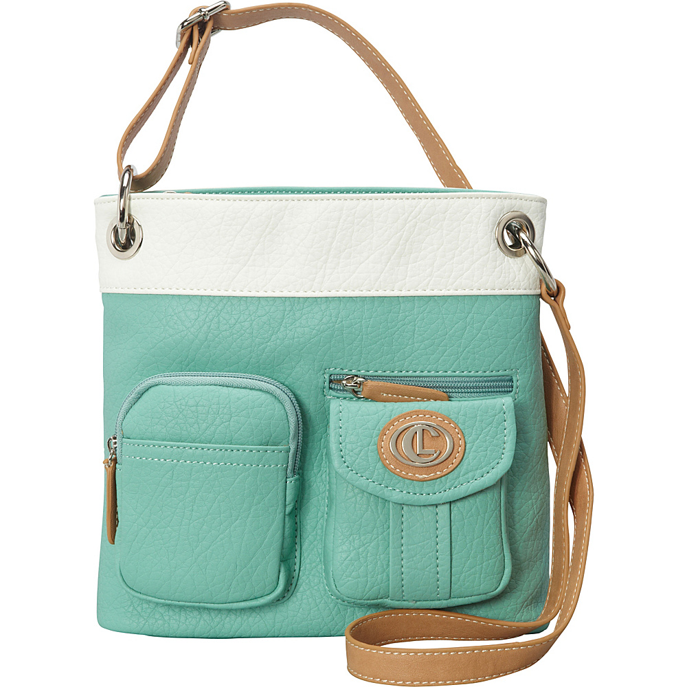 Aurielle Carryland Bernina 2 Tone Crossbody Mint White Aurielle Carryland Manmade Handbags