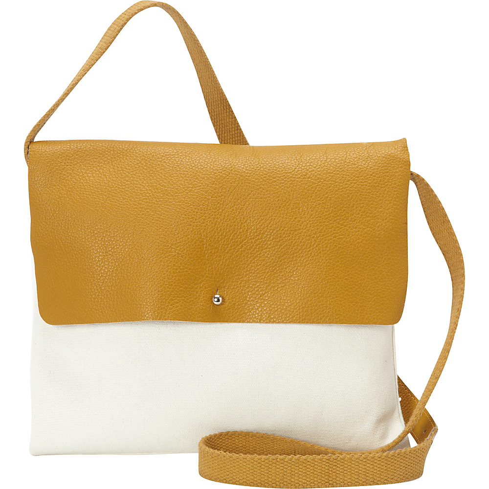 Sharo Leather Bags Cross Body in Canvas and Leather Mustard Yellow White Two Tone Sharo Leather Bags Fabric Handbags