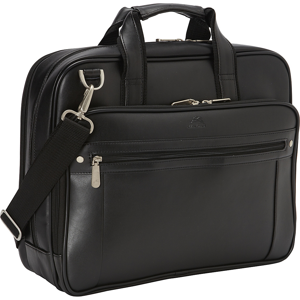 Mancini Leather Goods Double Compartment Business Briefcase for 15.6 Laptop and Tablet Black Mancini Leather Goods Non Wheeled Business Cases
