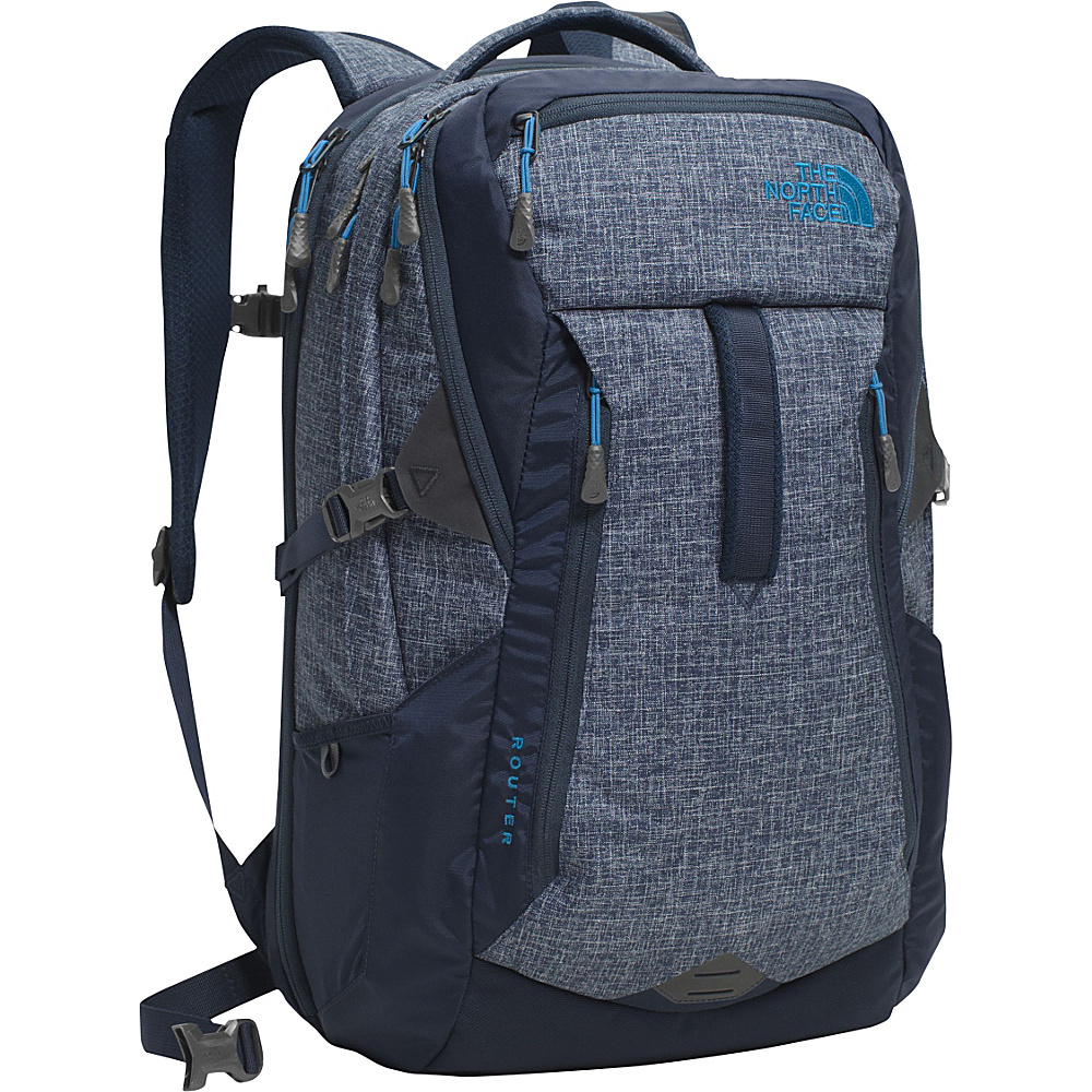 The North Face Router Laptop Backpack Urban Navy Heather Banff Blue The North Face Business Laptop Backpacks