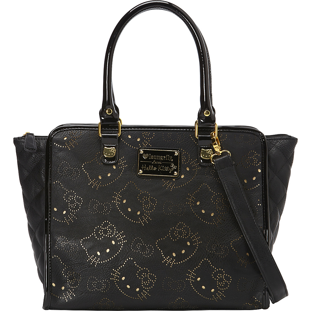 15ebff481e  63.75 More Details · Loungefly Hello Kitty Black W Gold Perforated Heads  And Bows Bag Black Gold -