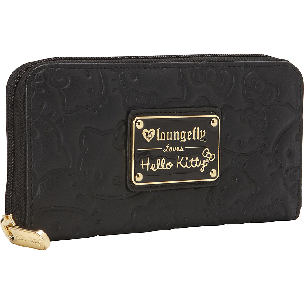 Loungefly Hello Kitty Large Face Embossed Black Zip Wallet Black - Loungefly Ladies Small Wallets