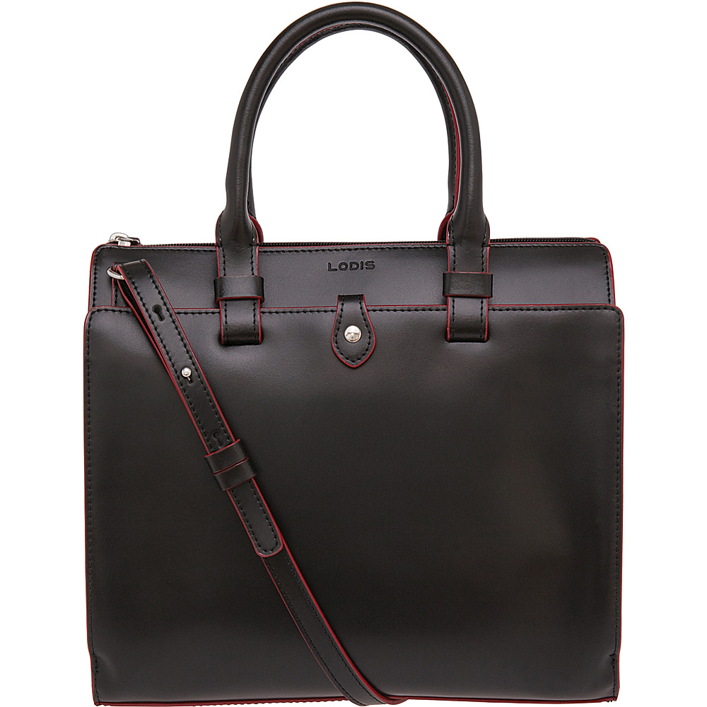 Lodis Audrey Linda Mini Satchel Black Red Lodis Leather Handbags