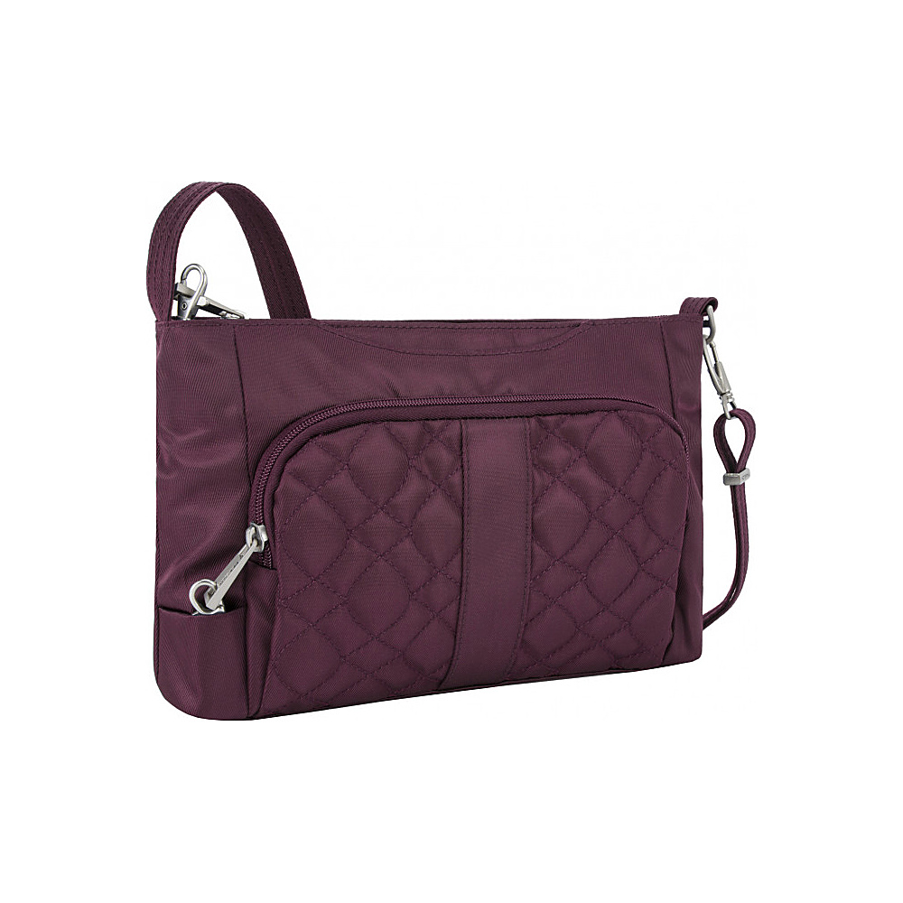 Travelon Anti-Theft Signature E/W Slim Bag Wineberry/Sand - Travelon Fabric Handbags - Handbags, Fabric Handbags