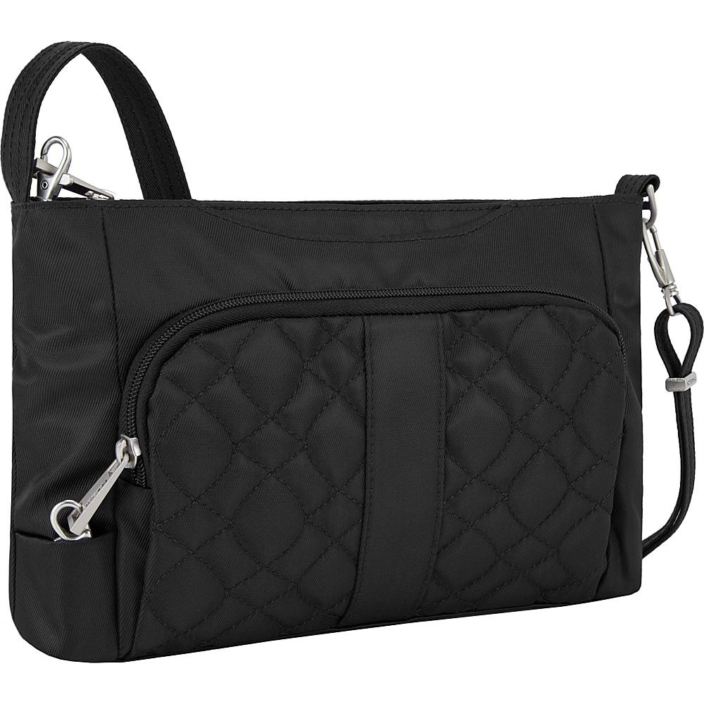 Travelon Anti-Theft Signature E/W Slim Bag Black/Teal - Travelon Fabric Handbags - Handbags, Fabric Handbags