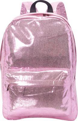 Ashley M Shiny Glitter Metallic Vinyl Laptop Backpack Pink - Ashley M Business & Laptop Backpacks