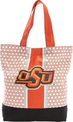 Ashley M Oklahoma State University Patterned Hexagon Canvas Tote Bag Orange - Ashley M Fabric Handbags
