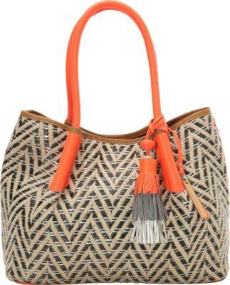 Vince Camuto Harlo Tote Natural/Fiery Coral - Vince Camuto Designer Handbags