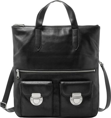 Fossil Riley Foldover Tote Black - Fossil Leather Handbags