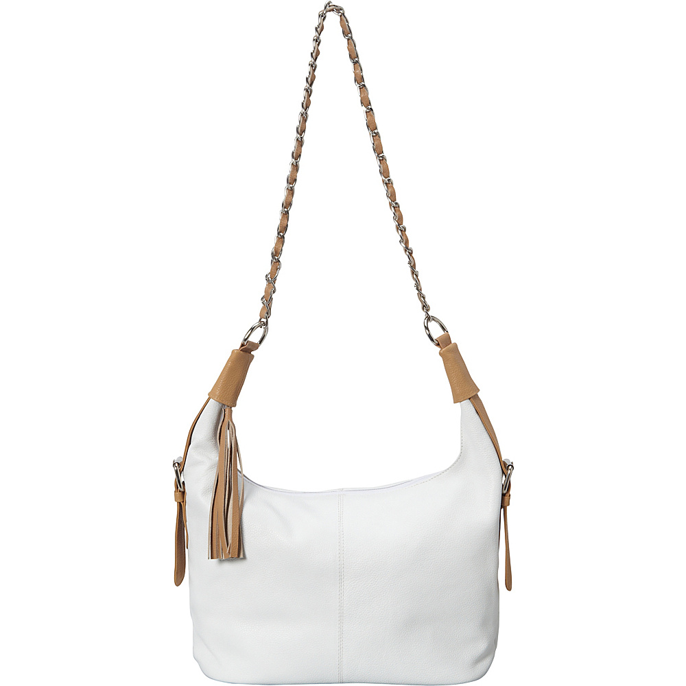 Sharo Leather Bags Leather Tasseled Hobo Bag with Leather trim White/Tan Two Tone - Sharo Leather Bags Leather Handbags
