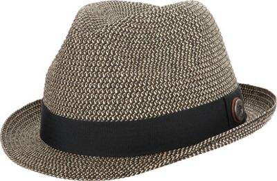 Ben Sherman Sewn Braid Straw Fedora S/M - Black - Ben Sherman Hats/Gloves/Scarves
