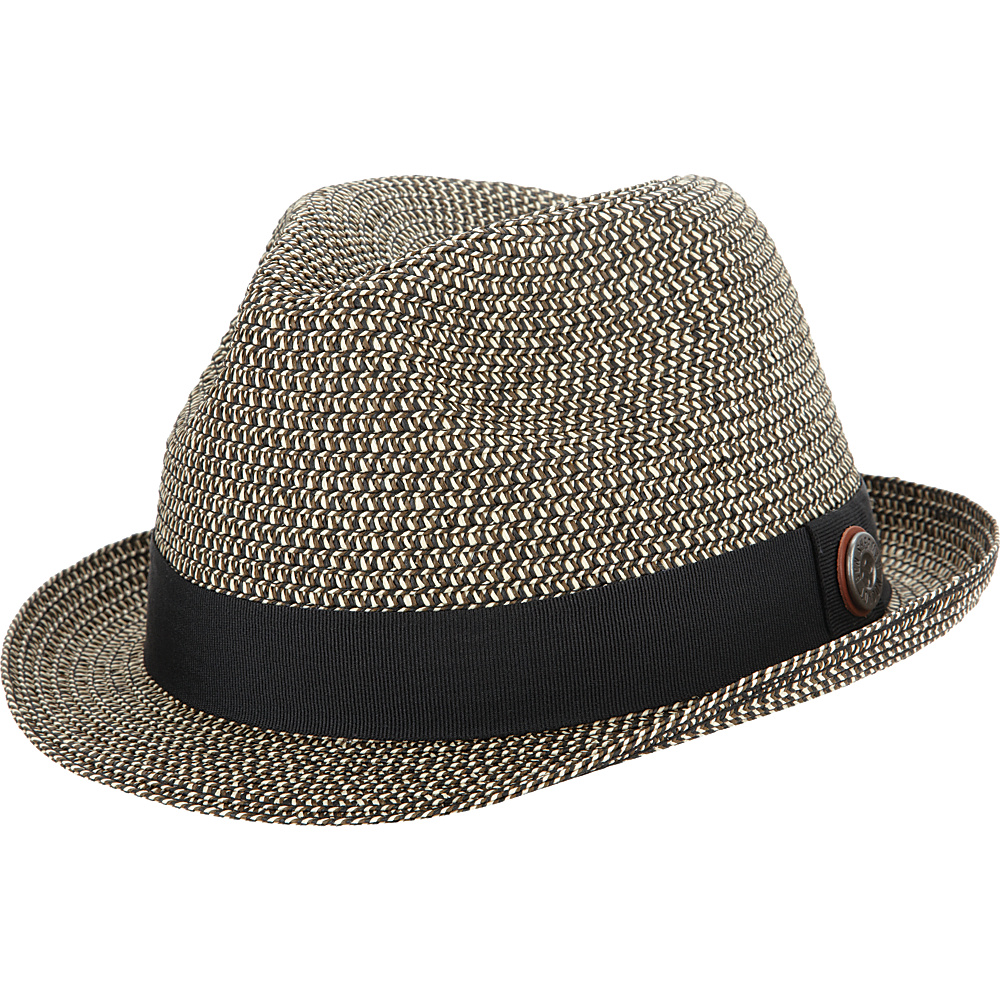 Ben Sherman Sewn Braid Straw Fedora Black-Large/Extra Large - Ben Sherman Hats/Gloves/Scarves