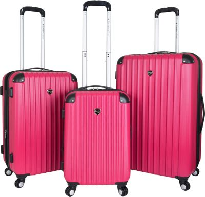 Travelers Club Luggage Chicago 3PC Hardside Expandable Spinner Luggage Set Neon Pink - Travelers Club Luggage Luggage Sets